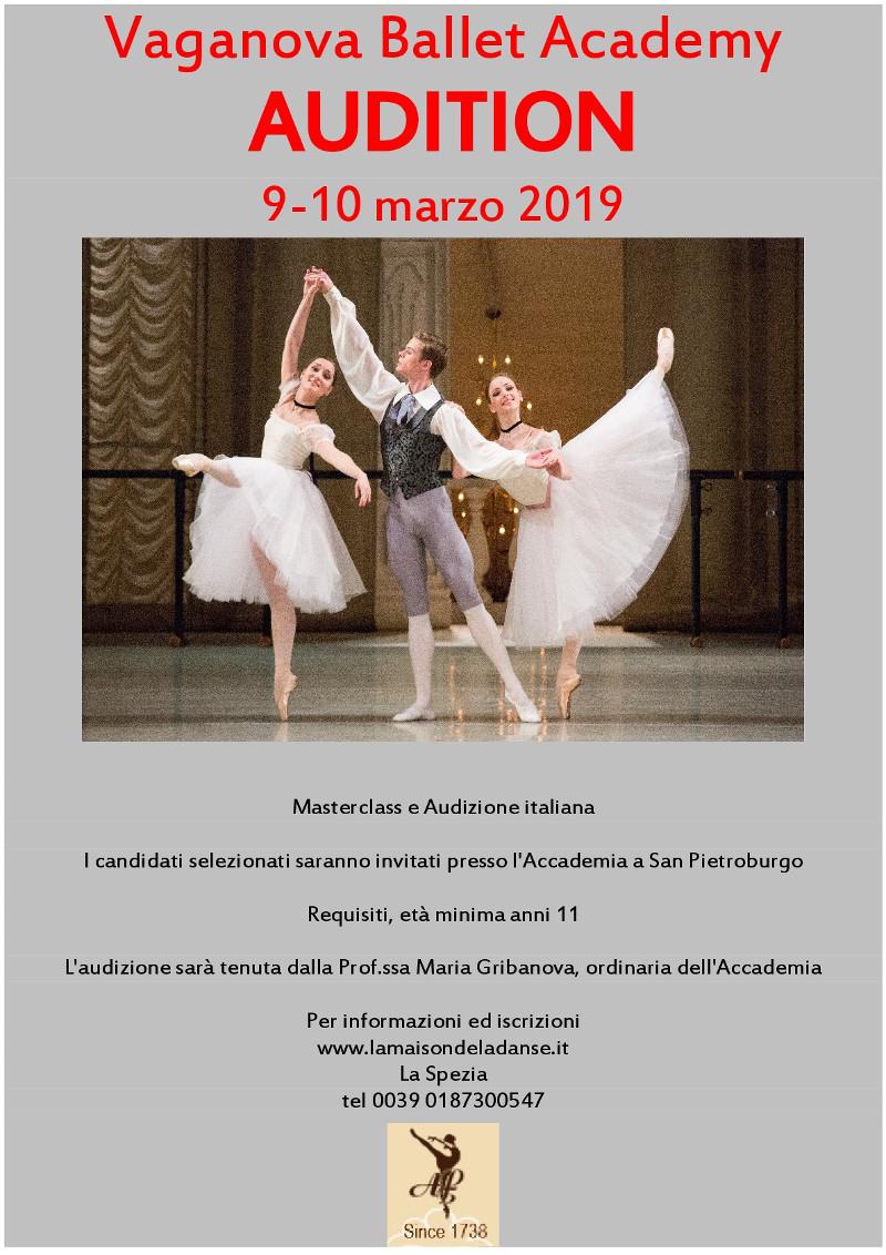 locandina audizione Accademia di Balletto Vaganova