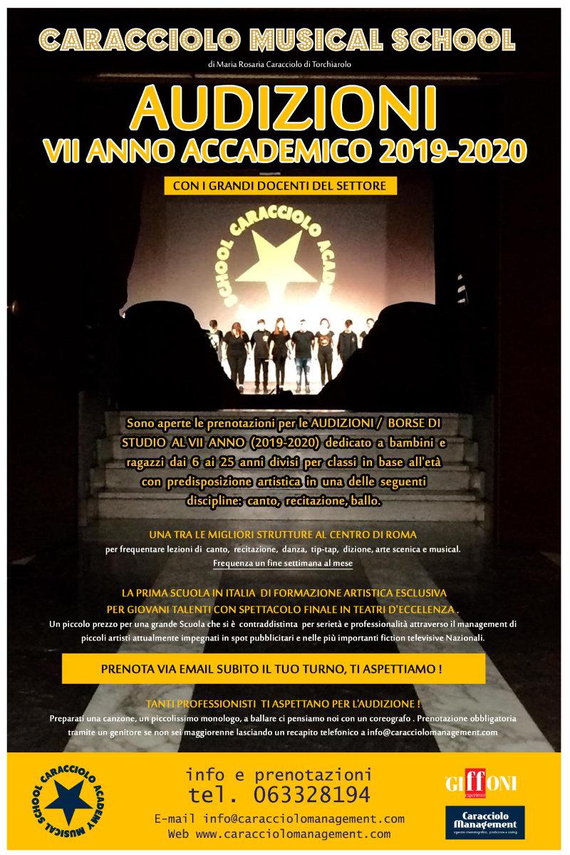 locandina Audizioni Caracciolo Academy Musical School