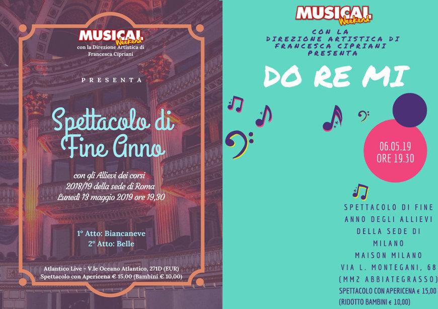 locandina spettacoli finali musical weekend